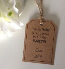 10 Personalised Hen Party Thank You Kraft Tags