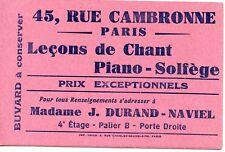 BUVARD PUBLICITAIRE / LECONS DE CHANT PIANO SOLFEGE / DURAND NAVIEL / PARIS