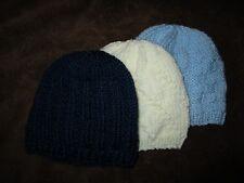 BABY HATS. Set of THREE (3) for  Preemie/Newborn   Hand knitted.