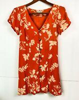 Billabong Stunning Ladies Short Sleeve Orange Floral 90's Inspired Dress Size 12