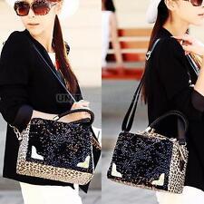 Fashion Women Sequins Fur Shoulder Handbag leopard Hobo Shoulder Purse Totes Bag
