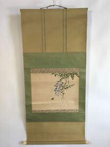 Japanese Hanging Scroll Vtg Kakejiku Kakemono Painting Wisteria Flowers SC626