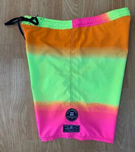 Bright Neon Pink & Yellow Billabong Platinum X PX3 Stretch Surf Boardshorts 32