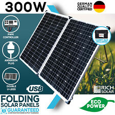 NEW 12V 300W FOLDING SOLAR PANEL KIT MONO CARAVAN BOAT CAMPING POWER BATTERY