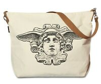 Cotton Grocery Bag with Leather Strap Printed Hermes Ancient Greek God WAS_29