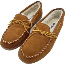 Minnetonka 3902 Faux Fur Lining Moccasin Brown Suede Slippers Men's Size 9M Box