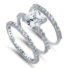 Engagement Ring Wedding Set Size 5-10 Sterling Silver Cz Princess 3 Piece