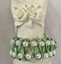 "Unique Green White 7"" Cuff Polyresin Bracelet with Hook Closure"