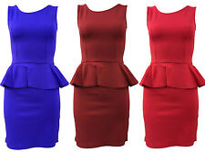 New Ladies Women's Crew Neck Slim Effect Peplum Frill Bodycon Dress 8-14