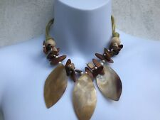 CAPIZ LOVELY MULTI CORD DROP SHELL LEAF CARVED BEADS ETHNIC BOHO HIPPY NECKLACE