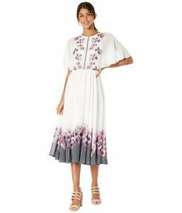 TED BAKER Ivory White Floral Print Neapolitan BEGONI Slit Back Midi Dress 5TB 14