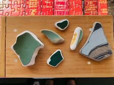 Genuine Beach Sea Glass GREENS & GRAYS Pottery Shards Surf Tumbled 6 Pieces