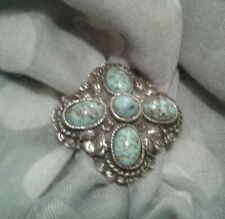 """Scottish, Turquoise Cabochons. #160 """"Miracle"""" Signed Vintage Scarf Clasp,"""