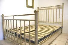 Antique French Bed 4 ft 6 Double Iron & Brass Shabby Chic Industrial 1940s +BASE
