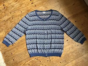 Brora Lightweight Cotton Zigzag Cardigan Blue White Size 14 Uk