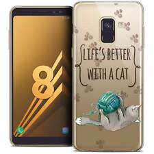 "Coque Gel Pour Galaxy A8 (2018) A530 (5.6"") Souple Quote Life's Better With a Ca"