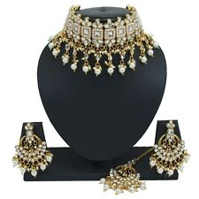 Gold Plated Choker Kundan Pearl Necklace Earrings Bollywood Bridal Jewelry Set