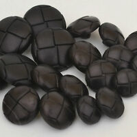 5 Black leather look football coat jacket buttons shank on back 5 sizes