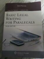 Basic Legal Writing for Paralegals, Third Edition by Samborn and Hope Viner Samb