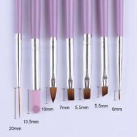 7Pcs Acrylic Nail Art Pen Tips UV Builder Gel Painting Brush Manicure Set LKS