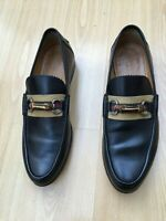 GUCCI MENS SHOES BLACK LEATHER BAMBOO HORSEBIT WEB LOAFERS UK 9 43