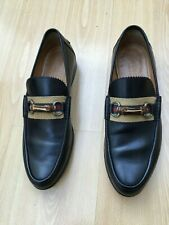 GUCCI MENS SHOES BLACK BAMBOO HORSEBIT WEB LOAFERS UK 9 43