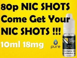 Nicotine Shots Nic Base Nic Up Booster Plus Just Drops 10ml 18mg UK Made High