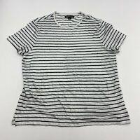 Michael Kors T-Shirt Mens XL White Black Short Sleeve Crew Neck Knit Striped