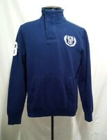 Tommy Hilfiger Men's 1/2 Zip Blue Polo Rugby Pullover Sweatshirt Jacket Size S