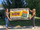 BIG ORIGINAL Vintage SUPER THERMO ANTI-FREEZE Sign BANNER Advertising OLD Gas
