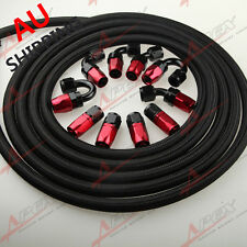 AN10 -10AN NYLON BRAIDED OIL/FUEL Hose+Fitting Hose End Adaptor Red And Black AU