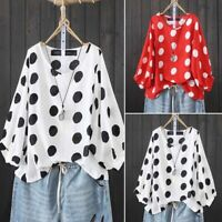 ZANZEA Women Lantern Sleeve Casual Polka Dot Shirt Tops Round Neck Blouse Plus