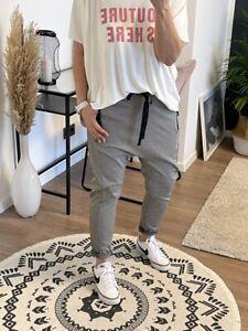 Baggy Hose mit Schleife Zipper Schwarz Weiß M eher 40 NEU (N7)