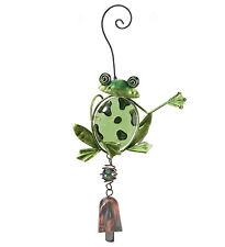 Frog Glass Metal Ornament Hanging Bell NEW door chime garden suncatcher art
