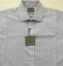 THOMAS DEAN Men's Dress Shirt 15 1/2-34/35 Blue White Checked New NWT $95 SHARP!