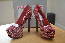 Daisy Street Red Fabric Studded Platform Courts Size UK 4 BNIB