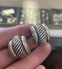 David Yurman 14K Yellow Gold 925 Sterling Silver Thoroughbred Earrings