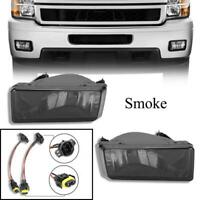 Smoked For 07-13 Chevy Silverado Tahoe Suburban Avalanche Bumper Fog Lights Pair