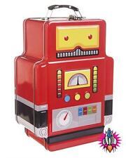 RETRO ROBOT METAL SCHOOL LUNCH BOX TOTE TIN CASE