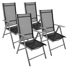 4er Set Klappstuhl Aluminium Gartenstuhl Alu Campingstuhl Hochlehner schwarz