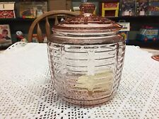 Vintage Anchor Hocking Pink Paneled Rib Cookie Jar w/Lid