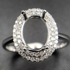 Oval Diamond Semi Mount Engagement Pave Set Ring 14k White Gold 0.25Ct