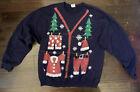 VTG Ugly Tacky Holiday Xmas Christmas Party Sweater L Pullover Santa Black