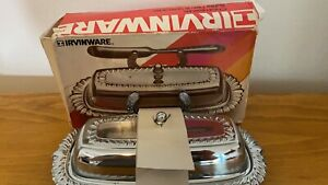 Irvinware Vintage Silver Tone Butter Dish With Box