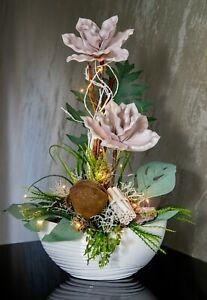 Blumengesteck Gesteck Kunstgesteck Tischgesteck LED 60cm