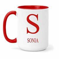 Sonia Nombre & Inicial Taza - Regalo en Muchos Colores para Té o Café