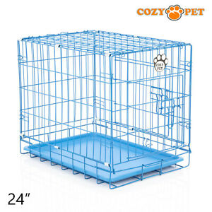 Dog Cage 24 inch Puppy Crate S Cozy Pet Blue Dog Crates Folding Metal Cages