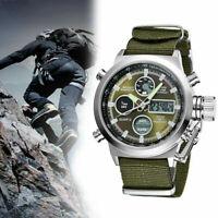 OHSEN Army Men's Sport Digital LED Nylon Canvas Alarm Green Quartz Analog Watch