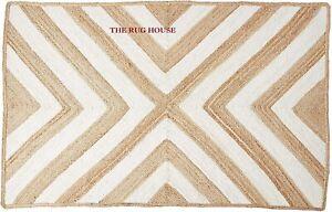 Rug 100% Natural Jute Braided Style Carpet Handmade Runner Rustic Look Area Rug