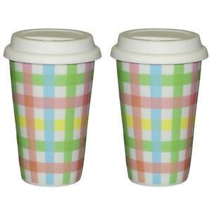 2 x Coffee To Go Becher mit Deckel 250ml doppelwandig Porzellan Thermo Karo bunt